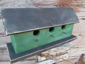 Birdhouse Three Compartment Green Fully Functional