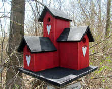Load image into Gallery viewer, Three Nesting Box Condo Birdhouse Red Black