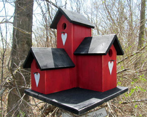 Three Nesting Box Condo Birdhouse Red Black