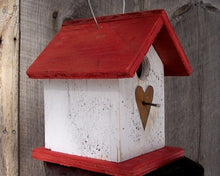 Load image into Gallery viewer, Song Bird Birdhouse Rusty Heart White Red Fully Functional Hand Crafted