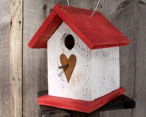 Song Bird Birdhouse Rusty Heart White Red Fully Functional Hand Crafted