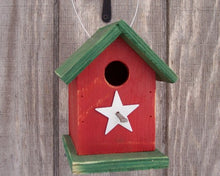 Load image into Gallery viewer, Song Bird Birdhouse Rusty Star Painted White Red Green Birdhouse Fully Functional Hand Crafted