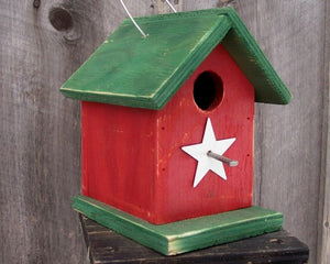Song Bird Birdhouse Rusty Star Painted White Red Green Birdhouse Fully Functional Hand Crafted