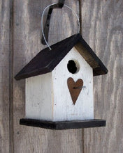 Load image into Gallery viewer, Song Bird Birdhouse Rusty Heart White Black Birdhouse Fully Functional Hand Crafted