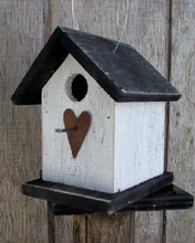 Load image into Gallery viewer, Song Bird White Black Birdhouse Fully Functional Hand Crafted