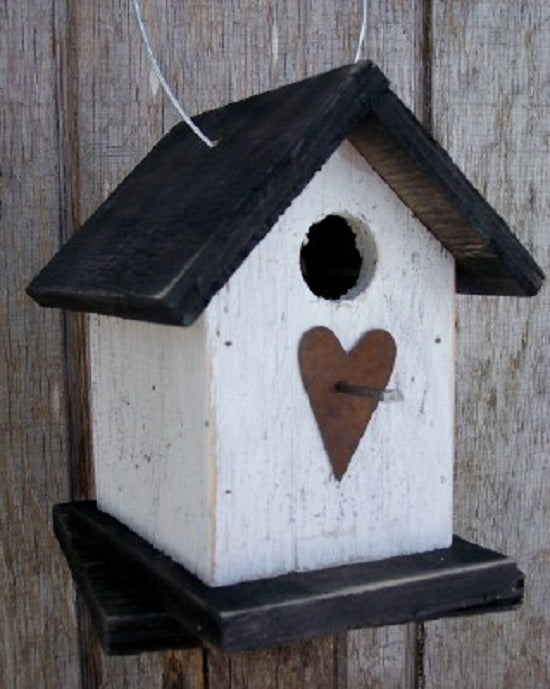Song Bird White Black Birdhouse Fully Functional Hand Crafted