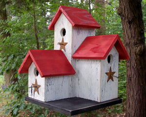 Three Nesting Box Condo Birdhouse White Red