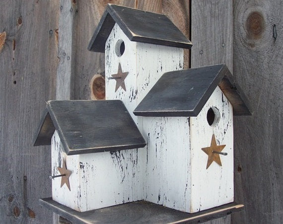 Three Nesting Box Condo Birdhouse White Black