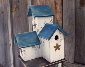 Three Nesting Box Condo Birdhouse White Blue