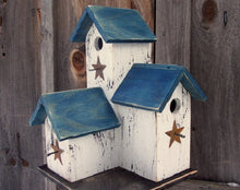 Load image into Gallery viewer, Three Nesting Box Condo Birdhouse White Blue