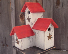 Load image into Gallery viewer, Three Nesting Box Condo Birdhouse White Red