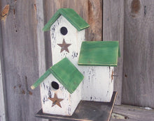 Load image into Gallery viewer, Three Nesting Box Condo Birdhouse White Green