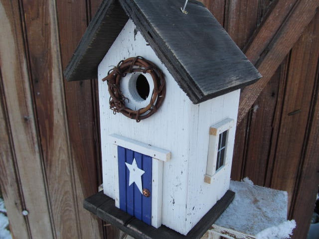 Country Birdhouse Door White Purple Fully Functional
