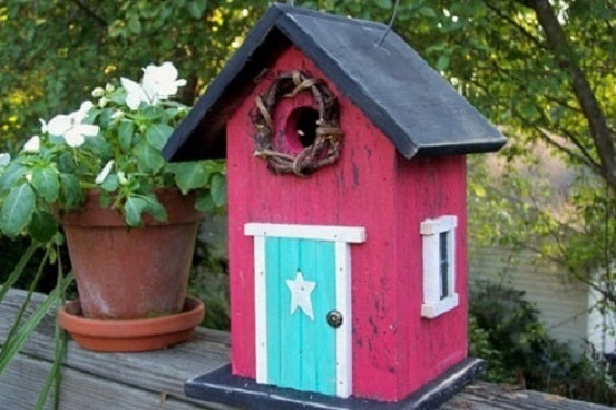 Country Birdhouse Door Rose Red Turquoise Fully Functional
