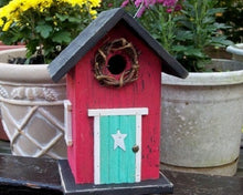 Load image into Gallery viewer, Country Birdhouse Door Rose Red Turquoise Fully Functional