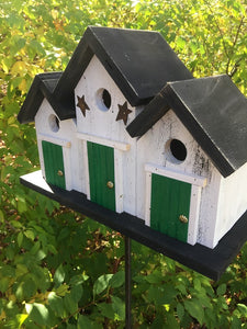 Triplex Primitive Birdhouse Three Compartments