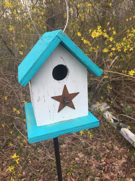 Song Bird Birdhouse Rusty Star Sea Breeze Blue White Birdhouse Fully Functional Hand Crafted