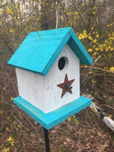 Load image into Gallery viewer, Song Bird Birdhouse Rusty Star Sea Breeze Blue White Birdhouse Fully Functional Hand Crafted