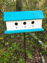 Load image into Gallery viewer, Birdhouse Three Compartment White Sea Breeze Blue Fully Functional