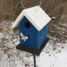 Load image into Gallery viewer, Song Bird Birdhouse Rusty Butterfly Painted White Blue Black Birdhouse Fully Functional Hand Crafted