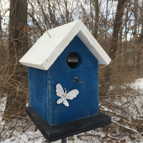 Song Bird Blue White Black Birdhouse Fully Functional Hand Crafted