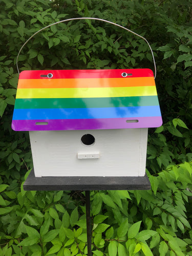License Plate Birdhouse LGBT Flag
