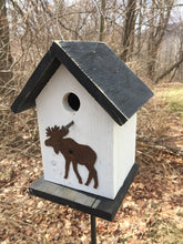 Load image into Gallery viewer, Birdhouse Rusty Moose Cut Out White Fully Functional