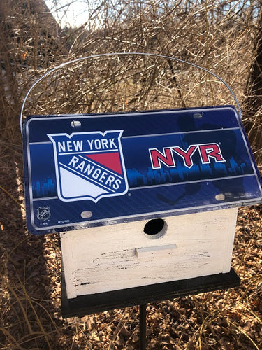 License Plate Birdhouse New York Rangers