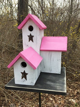 Load image into Gallery viewer, Three Nesting Box Condo Birdhouse White Pink