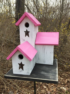 Three Nesting Box Condo Birdhouse White Pink