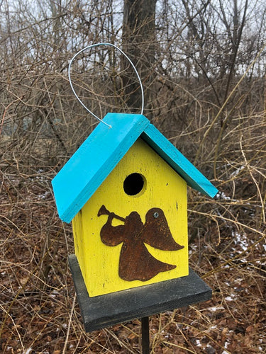 Birdhouse Rusty Angel Cut Out Yellow Fully Functional