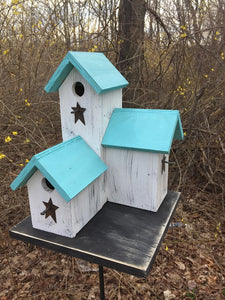 Three Nesting Box Condo Birdhouse White Seaside Blue