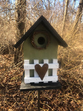 Load image into Gallery viewer, Country Birdhouse Fence Olive Green Fully Functional