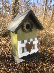 Country Birdhouse Fence Olive Green Fully Functional
