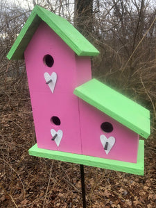 LeanTo Primitive Birdhouse Pink Lime Green Hearts Three Compartments