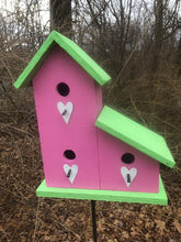 Load image into Gallery viewer, LeanTo Primitive Birdhouse Pink Lime Green Hearts Three Compartments