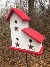 Load image into Gallery viewer, LeanTo Primitive Birdhouse White Red Stars Three Compartments