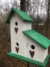 Load image into Gallery viewer, LeanTo Primitive Birdhouse White Green Hearts Three Compartments
