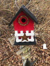 Load image into Gallery viewer, Country Birdhouse Fence Red Fully Functional