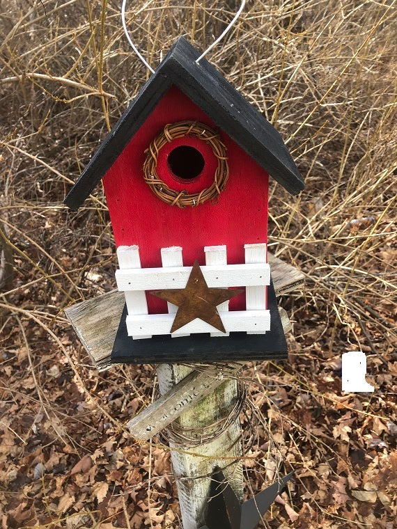 Country Birdhouse Fence Red Fully Functional
