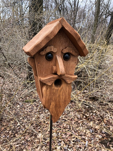 Birdhouse Cedar Rustic Primitive Old Man