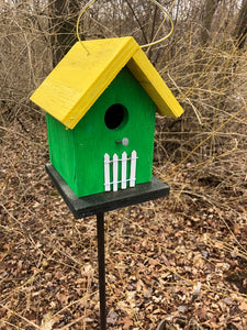 Song Bird Birdhouse Green Yellow Roof White Picket Fence Hand Crafted