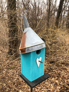 Birdhouse Rusty Funnel Sea Breeze Blue Primitive White Heart