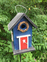 Load image into Gallery viewer, Country Birdhouse Door Blue Red Fully Functional