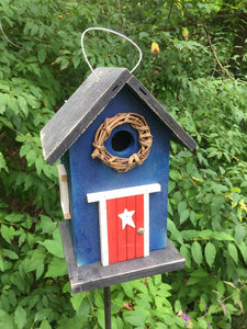 Country Birdhouse Door Blue Red Fully Functional