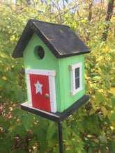 Load image into Gallery viewer, Cozy Green Red Door Birdhouse Country