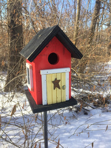 Cozy Red Yellow Door Birdhouse Country