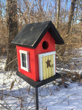 Load image into Gallery viewer, Cozy Red Yellow Door Birdhouse Country