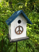 Load image into Gallery viewer, Birdhouse Peace Sign Antiqued Groovy