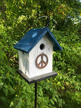Load image into Gallery viewer, Birdhouse Tin Peace Sign Antiqued Groovy